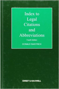 Index to Legal Citations and Abbreviations - 4th Edition